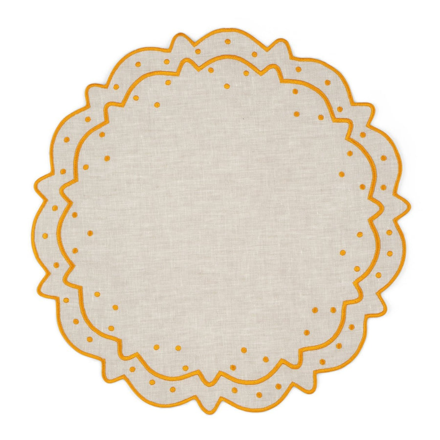 Scalloped Dot Placemat, Ivory x Yellow