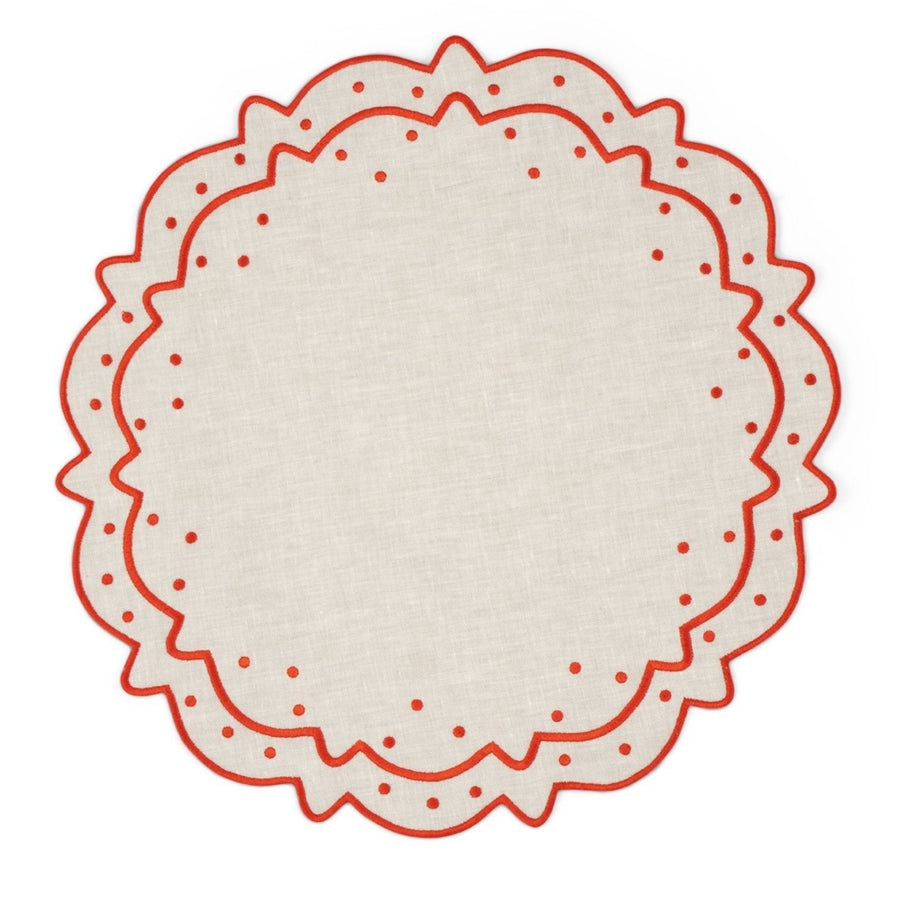 Scalloped Dot Placemat, Ivory x Rust