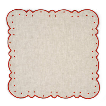 Scalloped Dot Napkin, Ivory x Rust