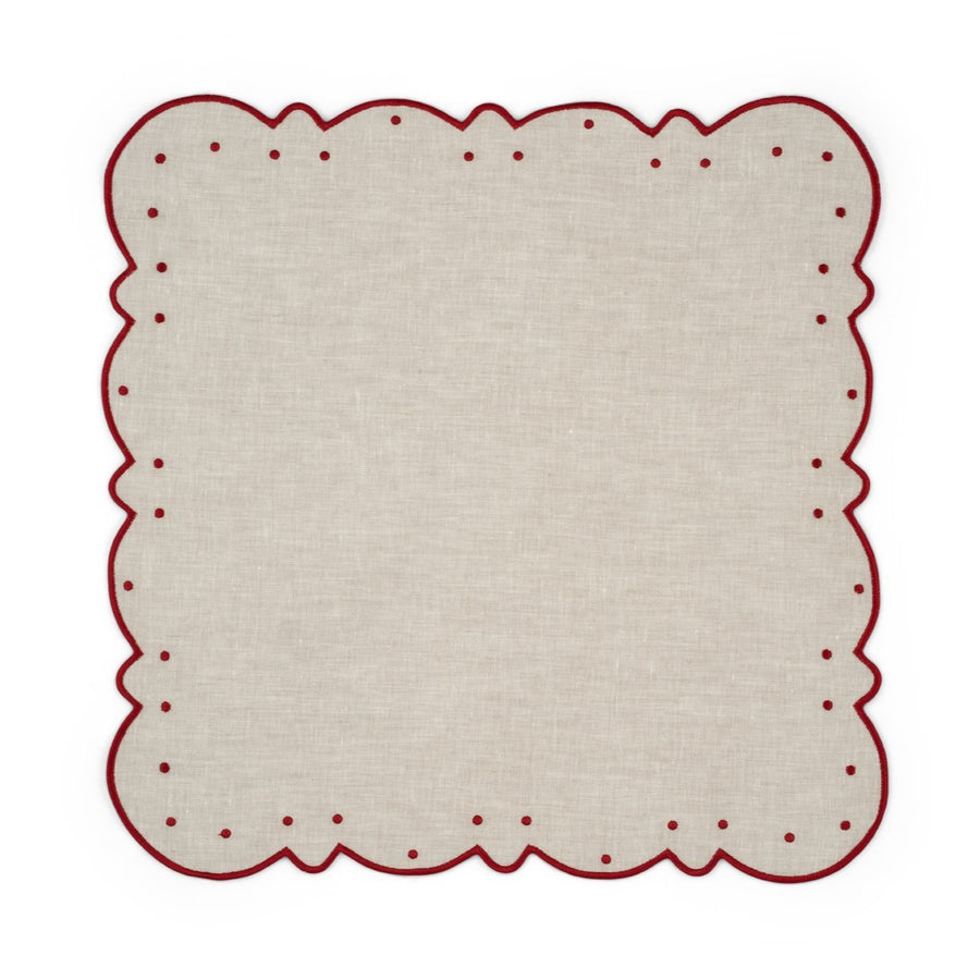 Scalloped Dot Napkin, Ivory x Burgundy