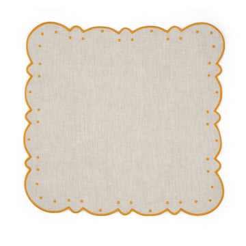 Scalloped Dot Napkin, Ivory x Yellow