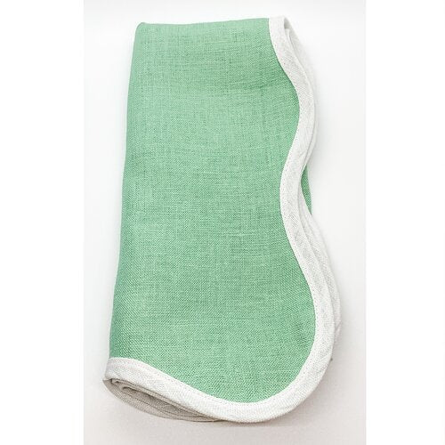 Linen Scalloped Square, Garden Green