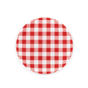 Gingham Melamine Plate, Red
