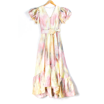 Rebekah Tie-Dye Belted Dress, Sunset