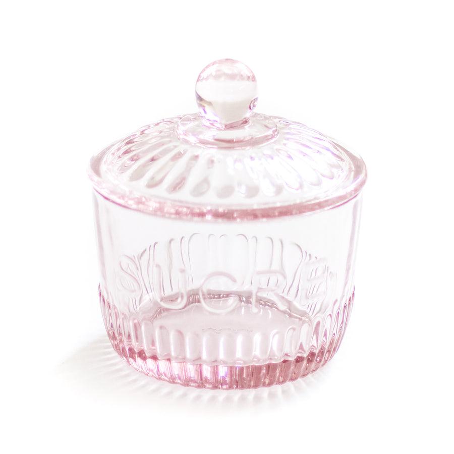 Glass Sugar Jar, Pink