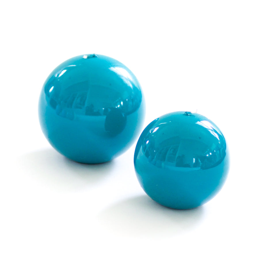 Lacquer Sphere Candle, Turquoise