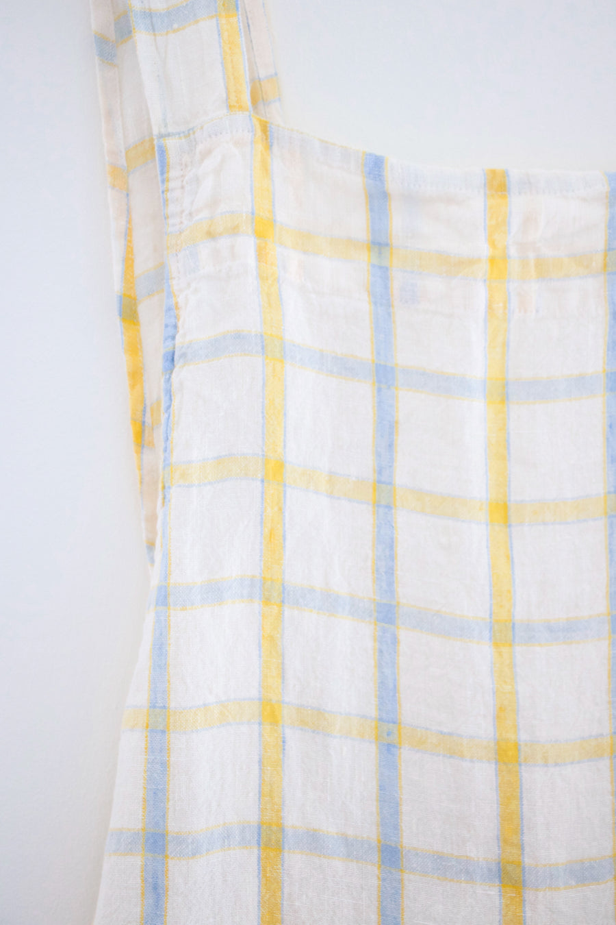 Japanese Adult Apron, Yellow & Blue Checks