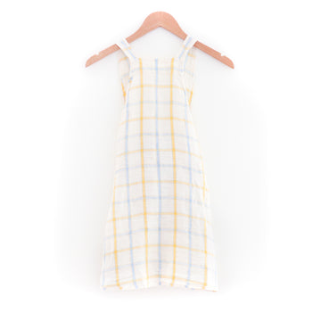 Kids Japanese Apron, Yellow & Blue Checks
