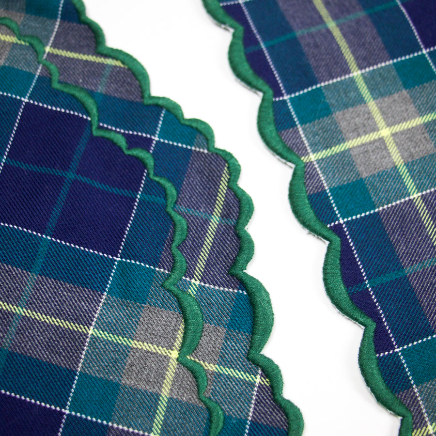 Scalloped Napkin, Blue X Green Tartan