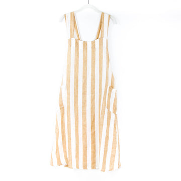 Japanese Adult Apron, Nut x White Stripe