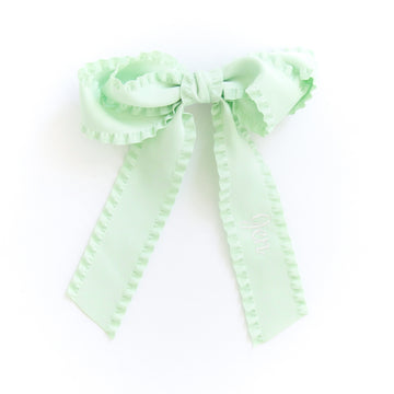 Ruffle Silk Statement Hair Bow, Green