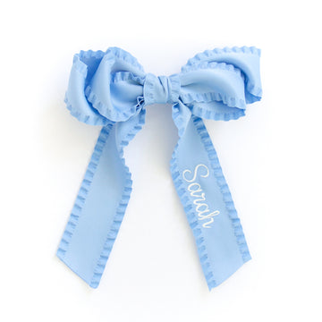 Ruffle Silk Statement Hair Bow, Blue