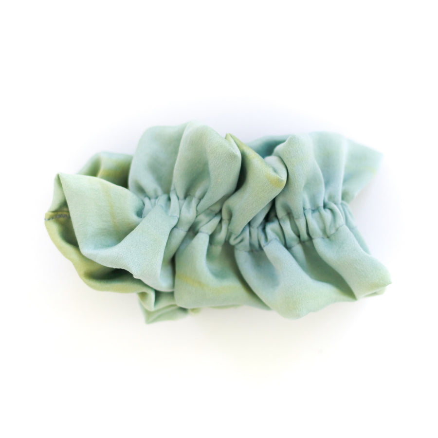 Naturally Dyed Ruffle Scrunchie Seafoam and Gold