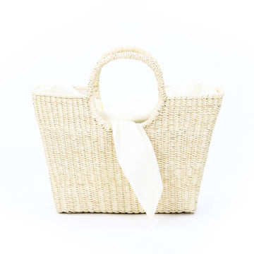 Canasta Straw Tie Tote, Natural