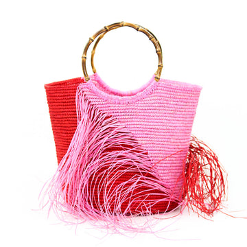 Two Tone Frayed Tote, Pink x Red