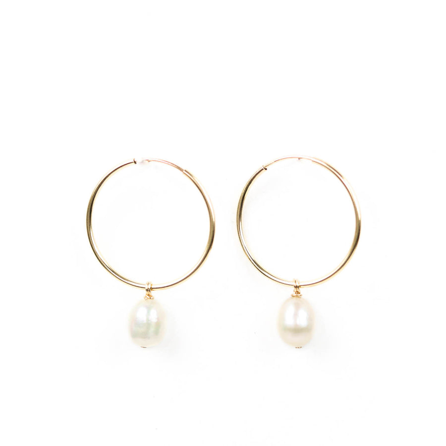 Drop Pearl Hoop Earrings