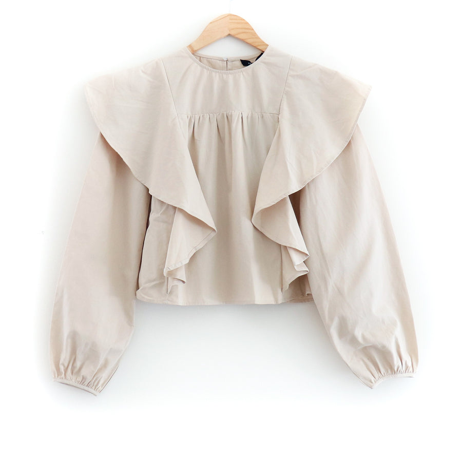 Poplin Ruffled Top, Natural