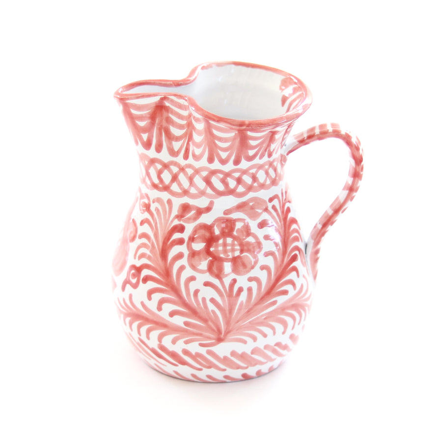 Handpainted Medium Spanish Pitcher, Coral