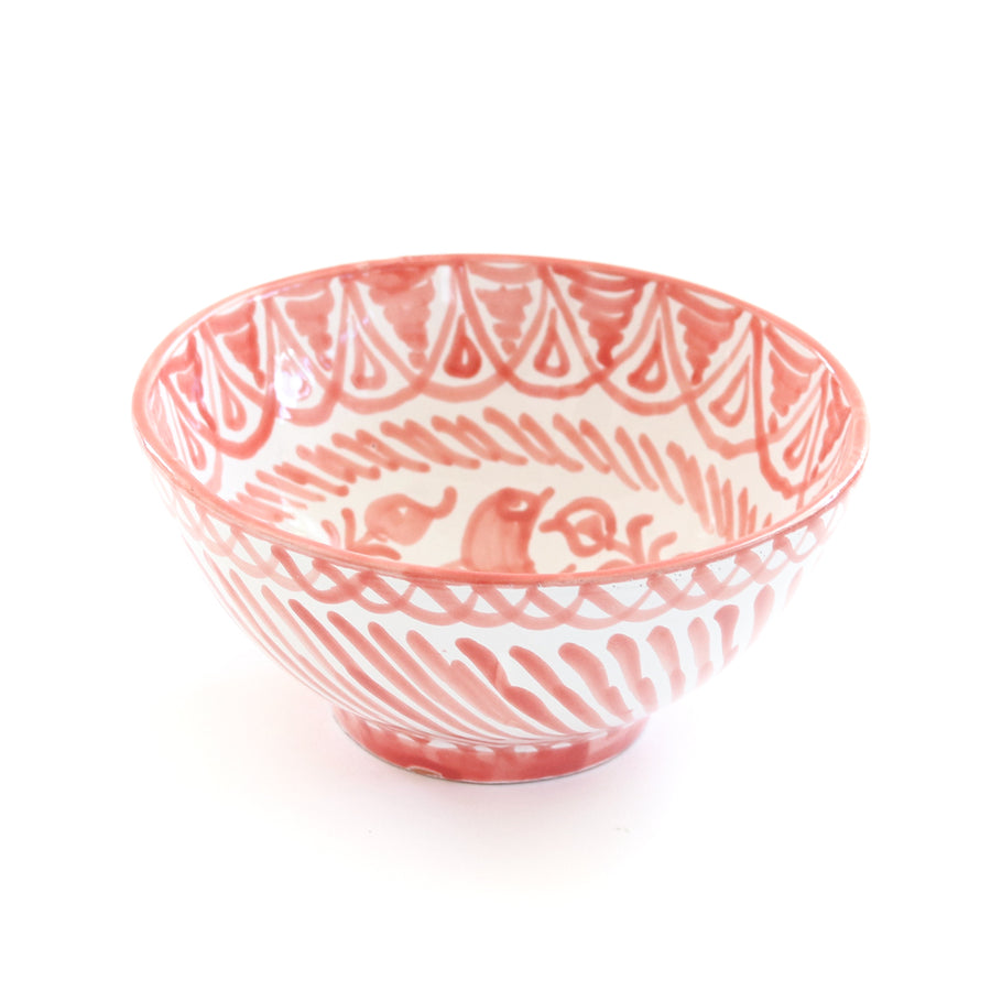 Handpainted Spanish Bowl, Coral - Medium