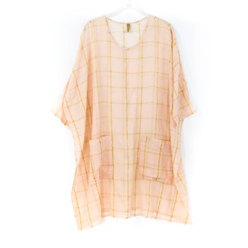 Metallic Stripe Pocket Caftan, Blush