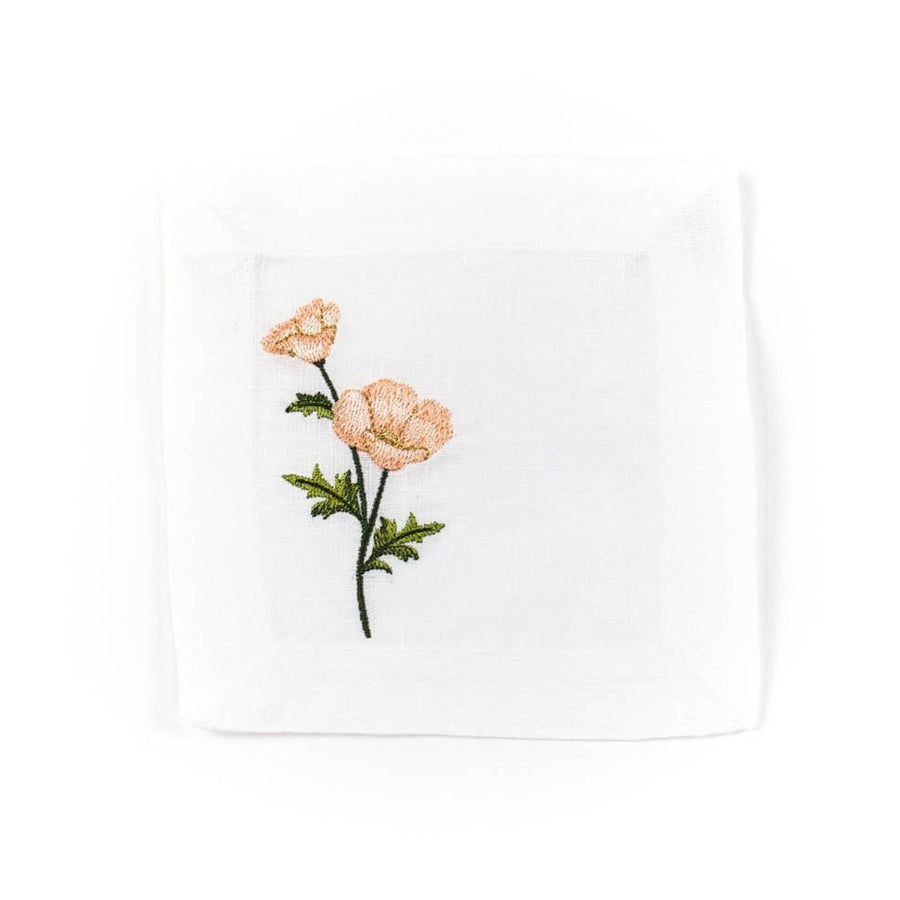 Mixed Floral Embroidered Cocktail Napkin Set