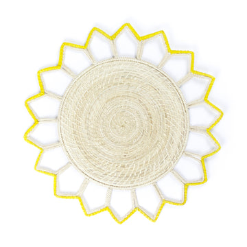 Woven Point Palm Placemat, Yellow