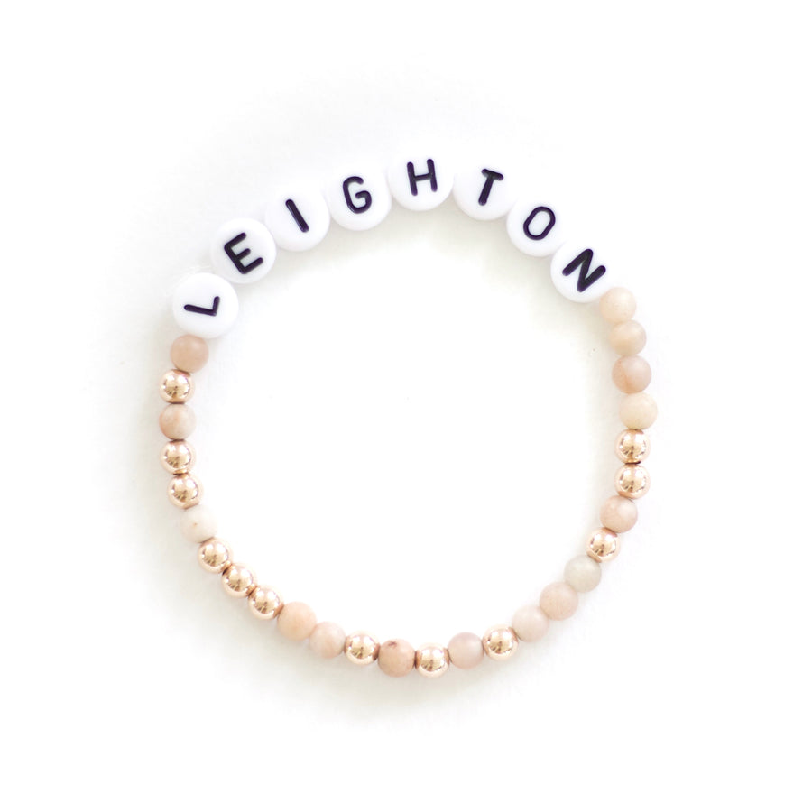 Personalized Moonstone x Gold Beaded Bracelet