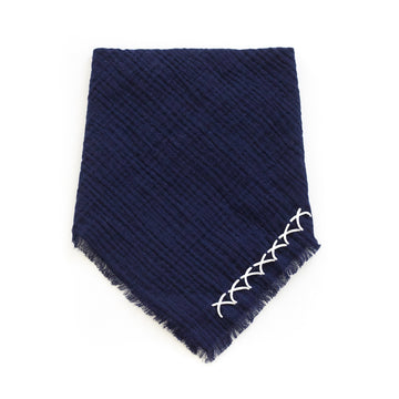 Scarf Button Mask, Navy x Ivory