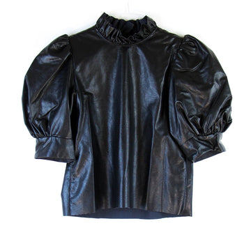 Stella Leather Top, Black
