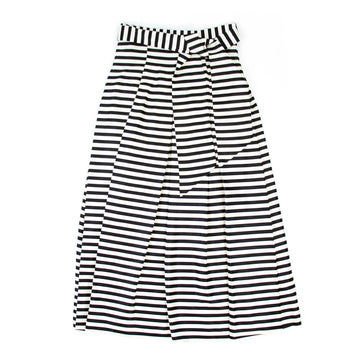 Alexis Stripe Midi Skirt, Black x White