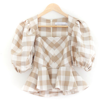 Conway Top, Beige Gingham