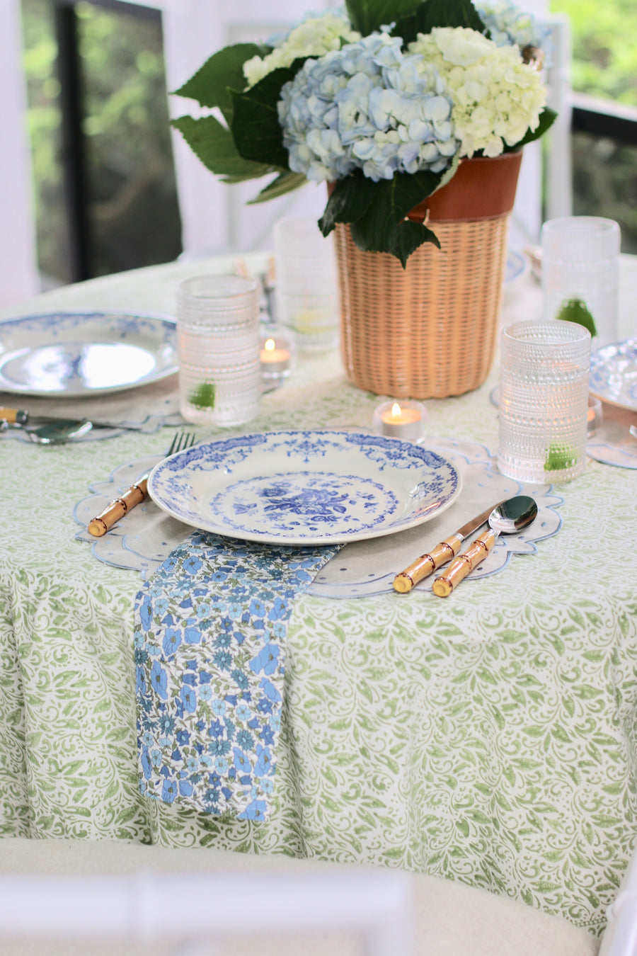 Nira Block Print Tablecloth, Green