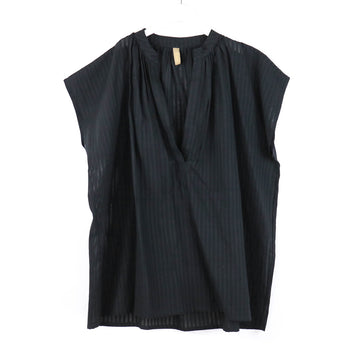 Khadi Stripe Top with Tie, Black