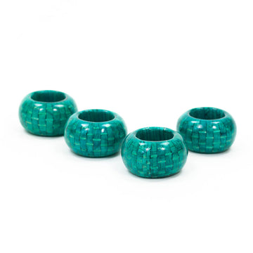 Lacquered Wicker Napkin Ring, Turquoise