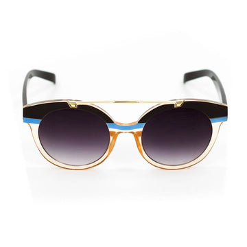 Retro Stripe Sunglasses, Blue x Caramel