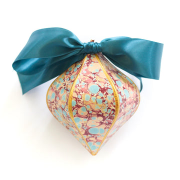 Gilded Mini Bauble Ornament, Pink x Turquoise Stone