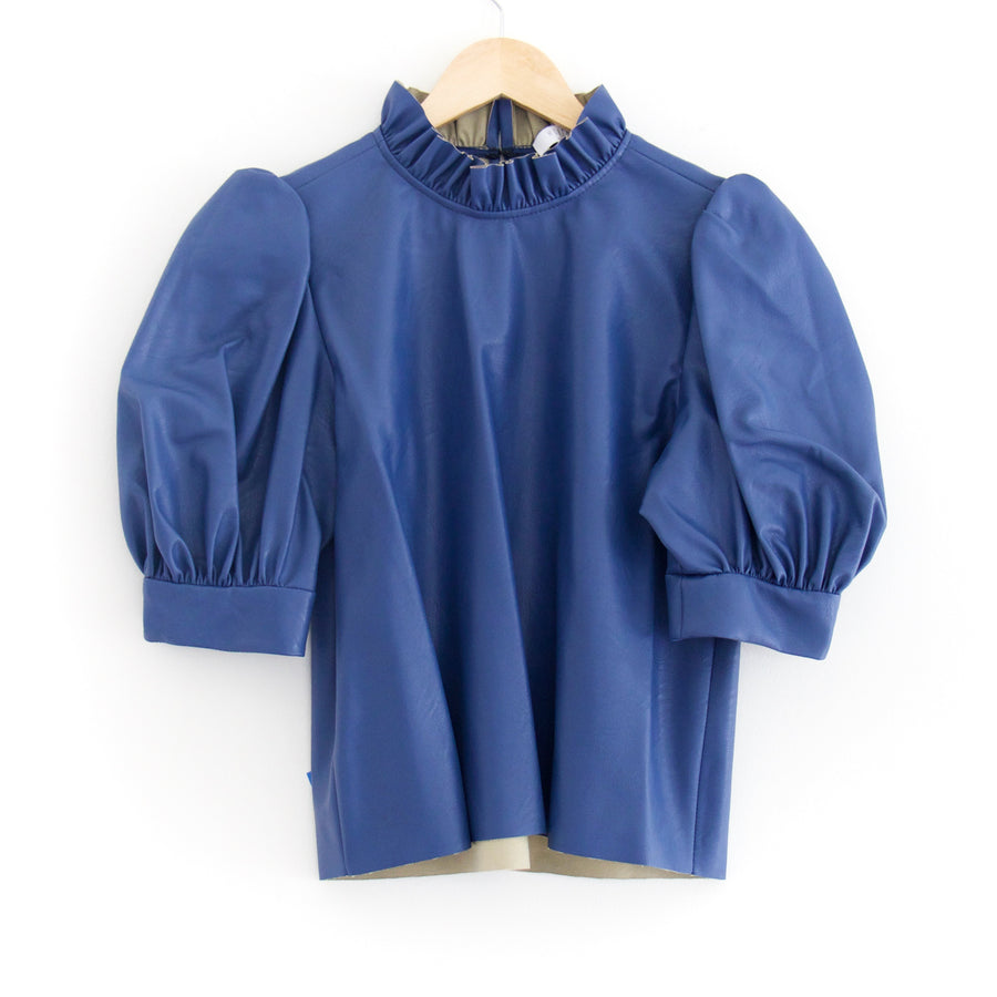 Stella Faux Leather Top, Basin Blue