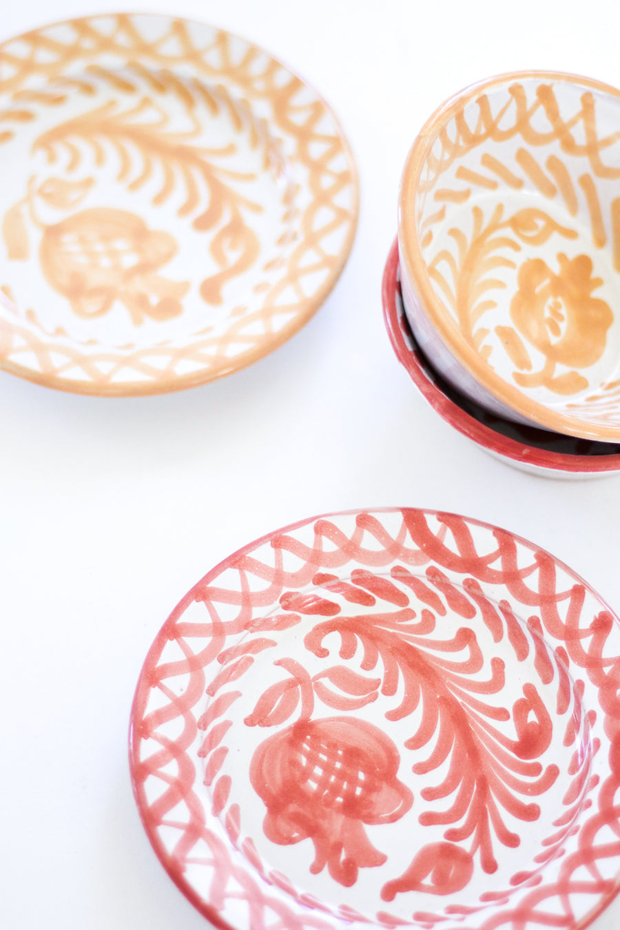 Handpainted Spanish Mini Plate, Coral