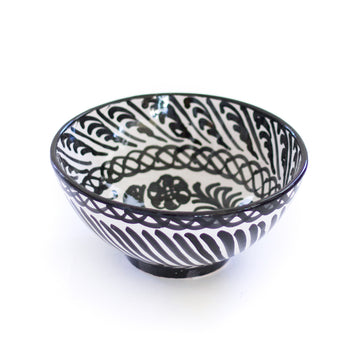 Handpainted Medium Spanish Bowl, Black x White