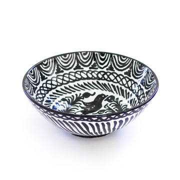 Handpainted Large Spanish Bowl, Black x White