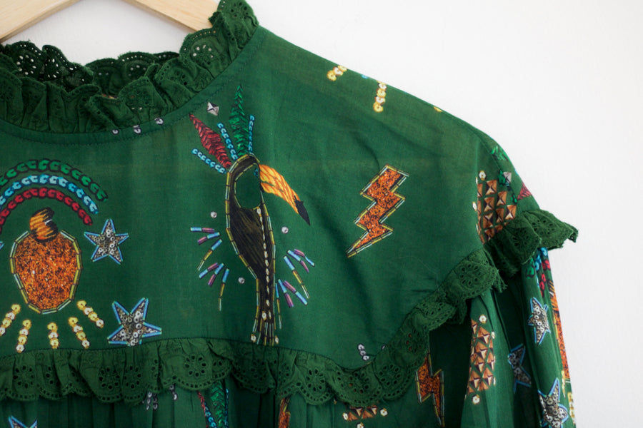 Farm Festa Blouse, Hunter Green