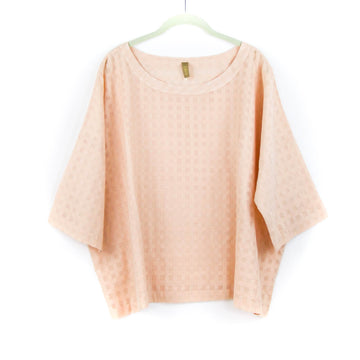 Grid Boatneck Top, Peach