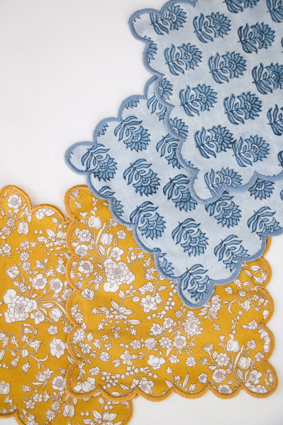 Block Print Floral Cocktail Napkin, Blue