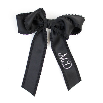 Ruffle Silk Statement Hair Bow, Black
