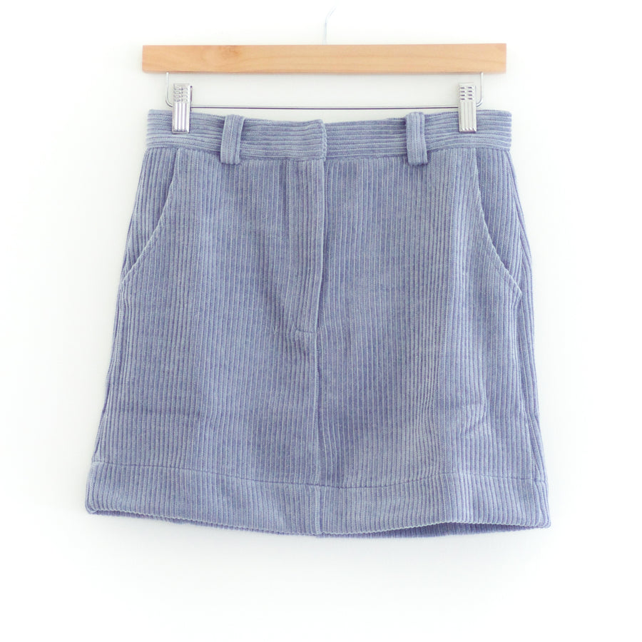 Corduroy Mini Skirt, Blue
