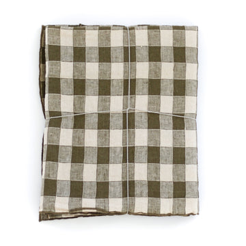Laurier Gingham Tablecloth, Olive Green