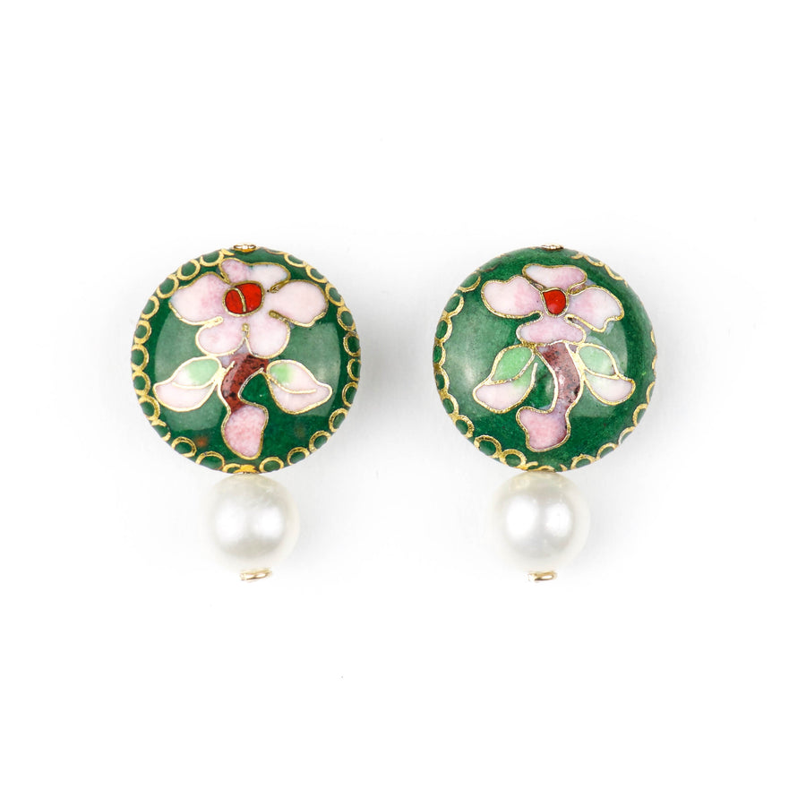 Cloisonné Coin & Pearl Drop Earrings