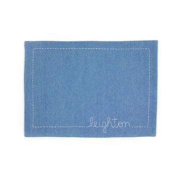Handmade Light Denim Floss-Stiched Placemat