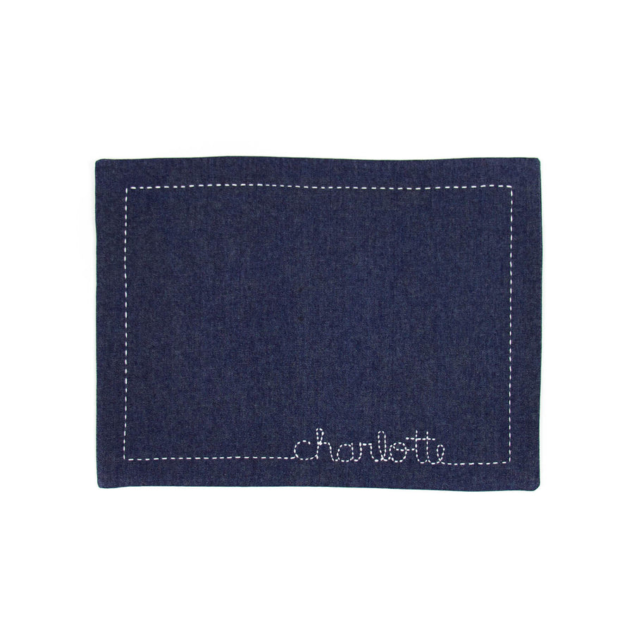 Handmade Dark Denim Floss-Stiched Placemat
