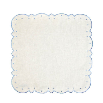 Scalloped Dot Napkin, Ivory x Periwinkle